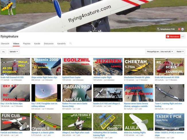 Youtube channel flying4nature